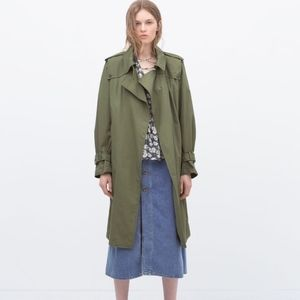 ZARA WOMAN Green Trench Coat Jacket
